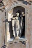 Staty av Jesus Christ på fasaden av San Giuseppe i Taormina Fotografering för Bildbyråer