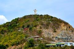 Staty av Jesus Christ på Nui Lon Big Mountain Vung Tau Vietnam Arkivfoto