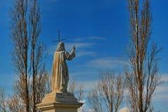 Staty av Jesus - från tillbaka sida Arkivbild
