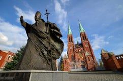 Staty av John Paul IIl Rybnik, Polen arkivfoto