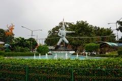 Staty av kapten Tubagus Muslihat som en Infonesia nationell hjälte från det Bogor fotoet som tas i Indonesien Arkivbild