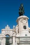 Staty av konungen Jose I och den triumf- bågen i Lissabon, Portugal Royaltyfria Bilder