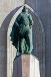 Staty av Leif Eriksson i Reykjavik, Island Arkivfoto