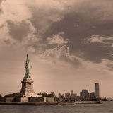 Staty av Liberty New York och Manhattan USA Arkivfoto
