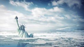 Staty av Liberty Submerged In Ocean arkivfilmer
