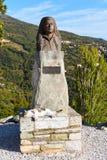 Staty av Margaret i den Makrinitsa byn av Pelion, Grekland Arkivfoton