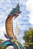 Staty av Naka Buddha och stor Buddhastaty på Mukdahan Provin Royaltyfria Bilder