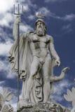 Staty av Neptun på springbrunnen, Rome, Italien Arkivfoton