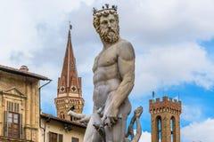 Staty av Neptune Piazzadella Signoria florence italy Royaltyfria Bilder