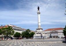 Staty av Pedro lV, Rossio, Lissabon, Portugal Royaltyfri Fotografi