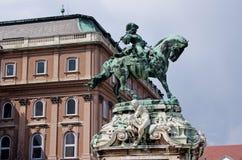 Staty av Prince Eugene av savoyen, Budapest Royaltyfri Fotografi