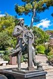 Staty av prinsen Albert 1st i helgonet Martin Park i Monte - carlo Arkivbild