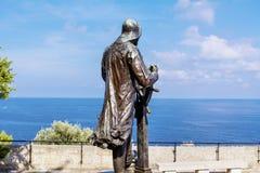 Staty av prinsen Albert 1st i helgonet Martin Park i Monte - carlo Arkivfoton