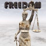 Staty av rättvisa, lagbegrepp, Temida - Themis 3d tolkning Arkivbild