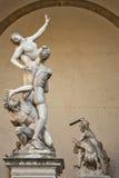 Staty av Ratto Delle Sabine, Florence, Italien Arkivfoto