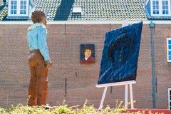 Staty av Rembrandt på den Rembrandt fyrkanten i Leiden, Nederländerna Royaltyfria Foton