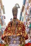 Staty av San Fermin i processionen av Juli 7 i Pamplona, Navarra Arkivfoto