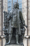 Staty av Sebastian Bach i Leipzig, Tyskland Arkivbilder