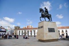 Staty av Simon Bolivar i Tunja, Boyaca, Colombia Royaltyfri Foto