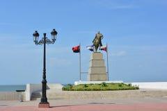 Staty av Simon Bolivar, på pir av Managua, Nicaragua Arkivbild