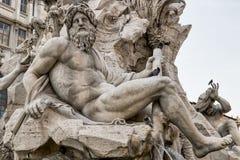 Staty av springbrunnen av de fyra floderna Arkivfoto