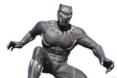 Staty av superheroen för svart panter i disney paris royaltyfria bilder
