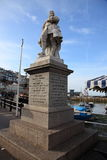 Staty av William av apelsinen i Brixham, Devon Arkivbilder