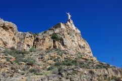 Staty christ Castillo de Monteagudo, medeltida slott, Murcia, S Royaltyfri Fotografi