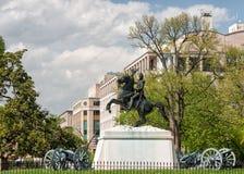 Staty för general jackson i washington Arkivfoton