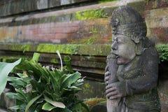 Staty i Bali Indonesien med mossa och väggen Arkivfoton