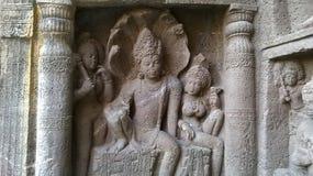 Staty i den Ajantha grottan Arkivfoto