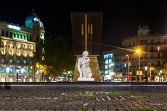 Staty i den Catalonia plazaen på Barcelona Spanien Royaltyfri Bild