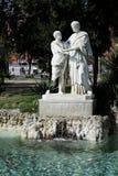 Staty i den villaComunale trädgården, Naples, Campania, Italien Arkivfoto