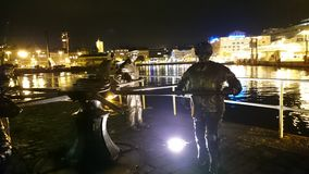 Staty i hamnen av Helsingborg Arkivbild
