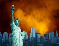 Staty Liberty New York Background Royaltyfri Foto