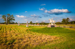 Staty och ett fält i Gettysburg, Pennsylvania Arkivfoton