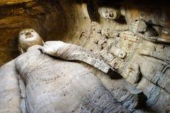 Staty på de Yungang grottorna Royaltyfria Bilder