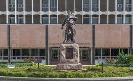 Staty på den Galveston County domstolsbyggnaden i Texas Royaltyfria Bilder