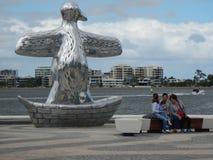 Staty på Elizabeth Quay, Perth Arkivbilder