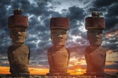 Staty på påskön eller Rapa Nui i det sydöstliga Stillahavs- arkivbild