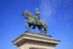 Staty som föreställer generalen Joan Prim i Barcelona, Spanien Arkivbild