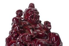 Staty som skrattar Buddha - Budai eller Hotei Gladlynt munk som isoleras på vit Arkivbild