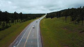 Statyczny trutnia strzał ruchów drogowych samochody rusza się wzdłuż betonowej autostrady między dzikimi zielonymi lasowymi skali zbiory wideo