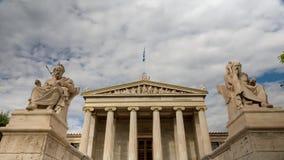 Statyer av akademin av athens stock video