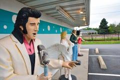 Statyer av Elvis Presley, Marilyn Monroe, James Dean och Betty Boop Arkivfoto