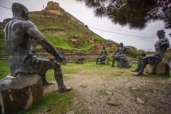 Statyer av georgian krigare på vilar royaltyfri bild