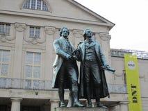 Statyer av Goethe och Schiller Royaltyfri Fotografi