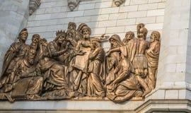 Statyer av MoskvaKristus frälsarefrälsaredomkyrkan Fotografering för Bildbyråer