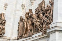 Statyer av MoskvaKristus frälsarefrälsaredomkyrkan Arkivfoton