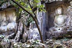 Statyer för grottor för Lingyin tempelklippe buddistiska royaltyfri bild